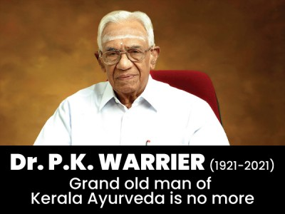 Dr. P.K. Warrier (1921-2021) Grand old man of Kerala Ayurveda is no more
